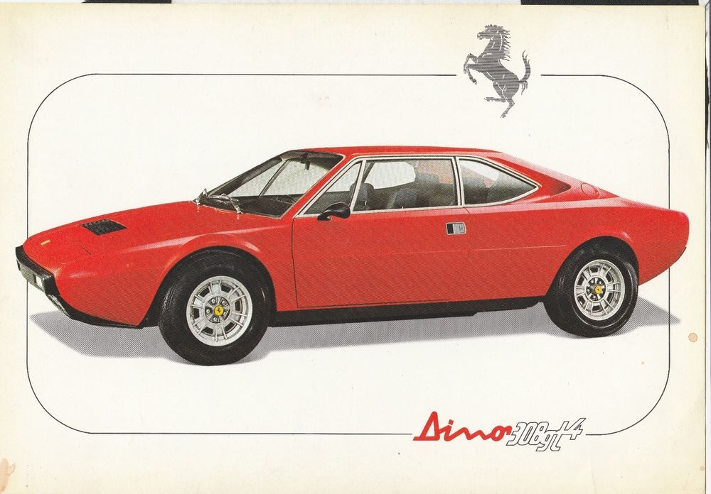 Ferrari Dino 308 Gt4 Specification Sales Sheet Brochure Prospekt