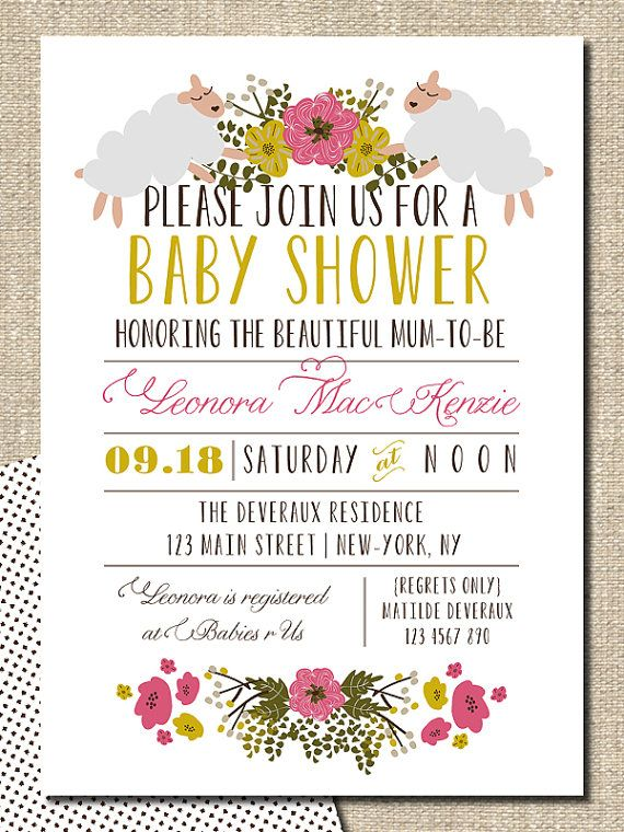 Baby shower invitation diy printable invitation floral sheep but this printable floral baby shower invites would look great printed on our eco friendly cardstock a great etsy collaboration filmwisefo Gallery
