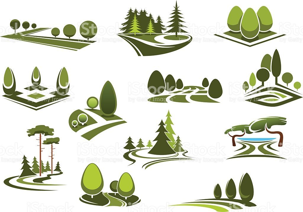 Peaceful nature landscapes icons with green walking alleys