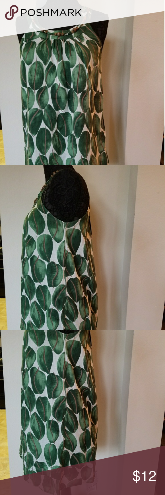 Forever21 Dress sizeM Green brown and white color 100% Cotton. Forever 21 Dresses