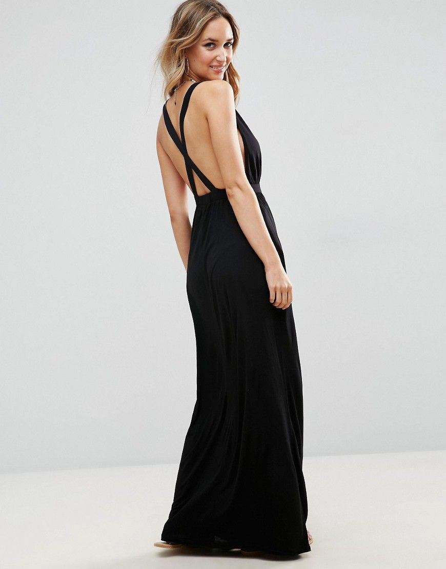 98ad445a0b7 ASOS Cross Back Jersey Maxi Beach Dress - Black | Products | Dresses ...