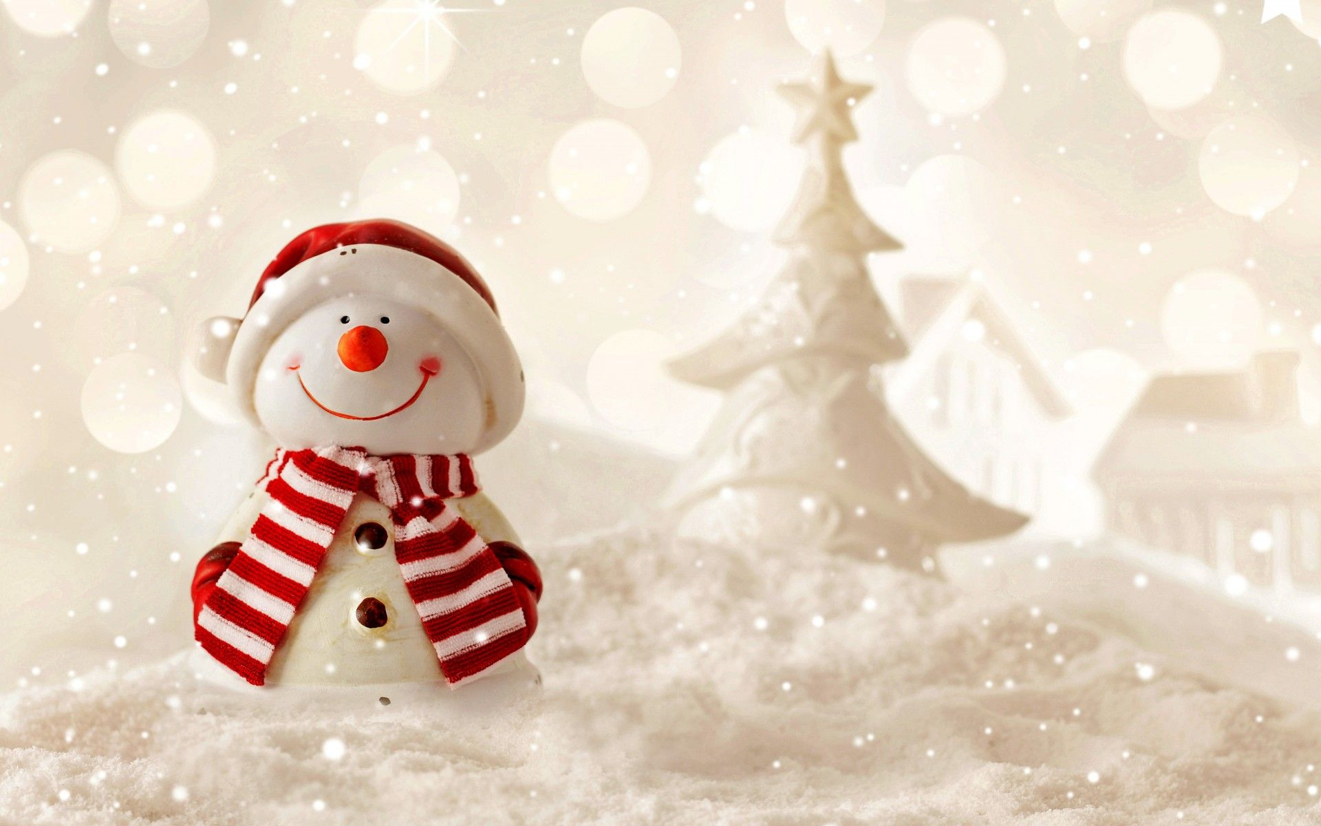 cute snowman standing in snow on bokeh background merry
