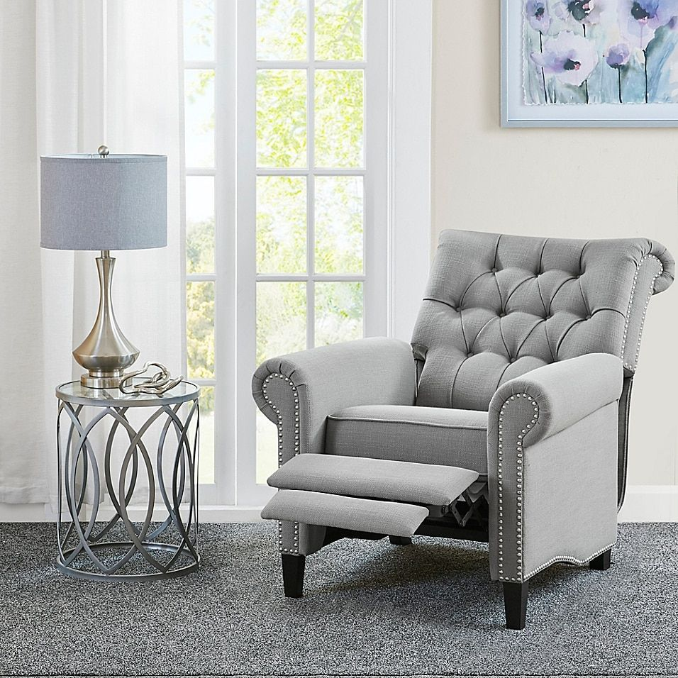 Madison Park Aidan Recliner Chair In Grey Bed Bath Beyond Furniture Bedroom Seating Area Bedroom With Sitting Area