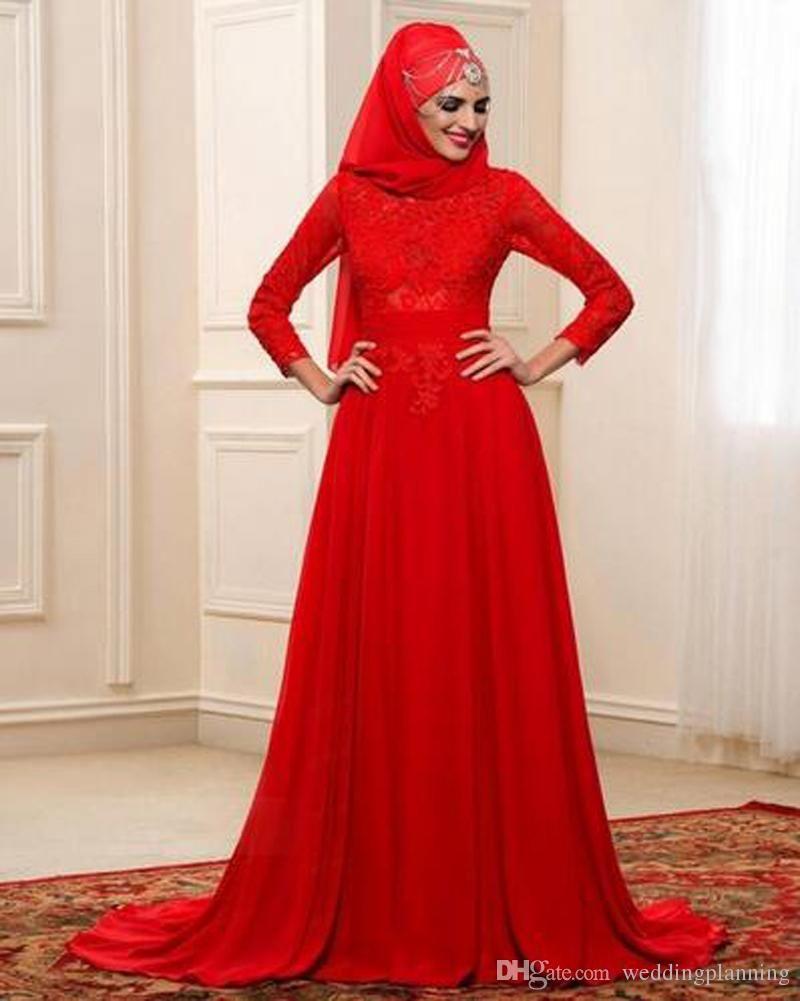 Arabic Muslim A Line Wedding Dresses Red Colour Long Sleeve High Neck With Hijab Wedding Dress Long Sleeve Muslim Wedding Dress Red Wedding Dresses [ 1001 x 800 Pixel ]