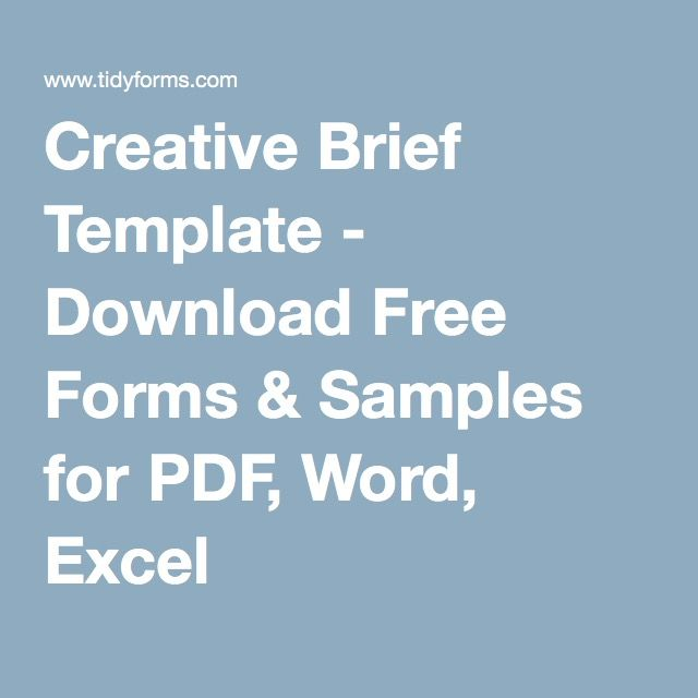 Creative Brief Template Download Free Forms Samples For Pdf