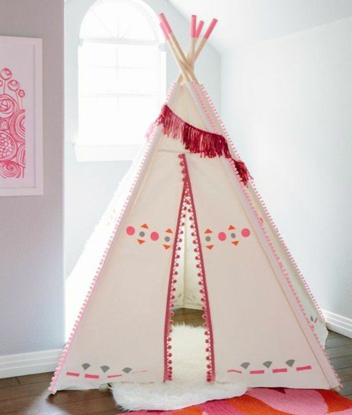 comment fabriquer un tipi 60 id es pour une tente indienne sympa tipi pinterest filles. Black Bedroom Furniture Sets. Home Design Ideas