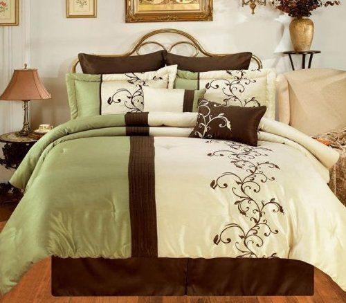 Amber Sage Brown Cream Oversize King 8 Piece Comforter Bed In A