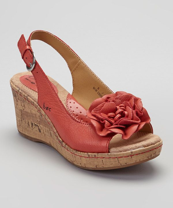 4a3eaaf5997 Look at this Coral Blossom Leather Slingback Wedge Sandal on  zulily today!