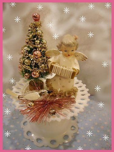 vintage christmas angel figurine bottle brush tree mercury glass bird decoration ebay