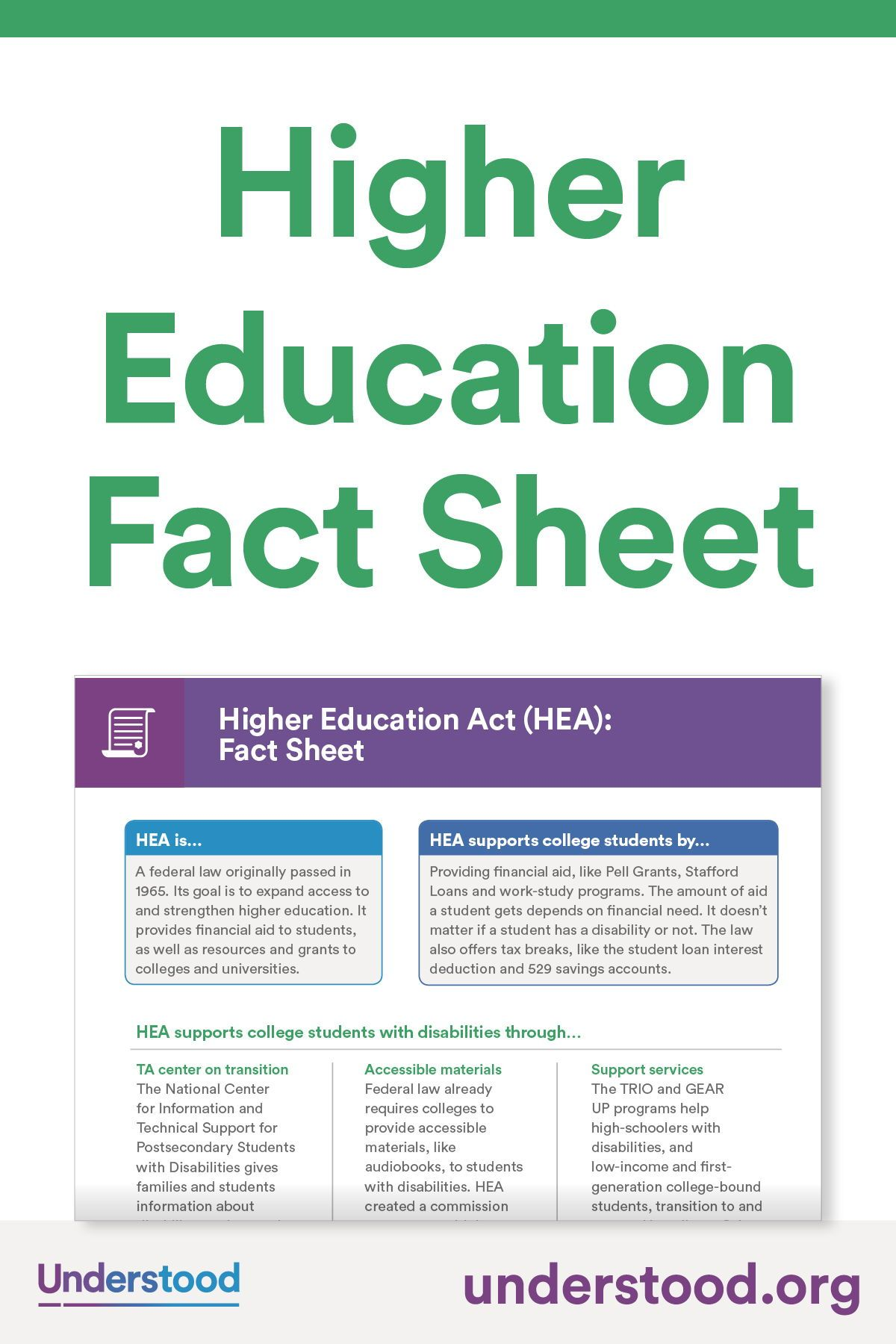 Higher Education Act Fact Sheet Higher Education Education Fact Sheet