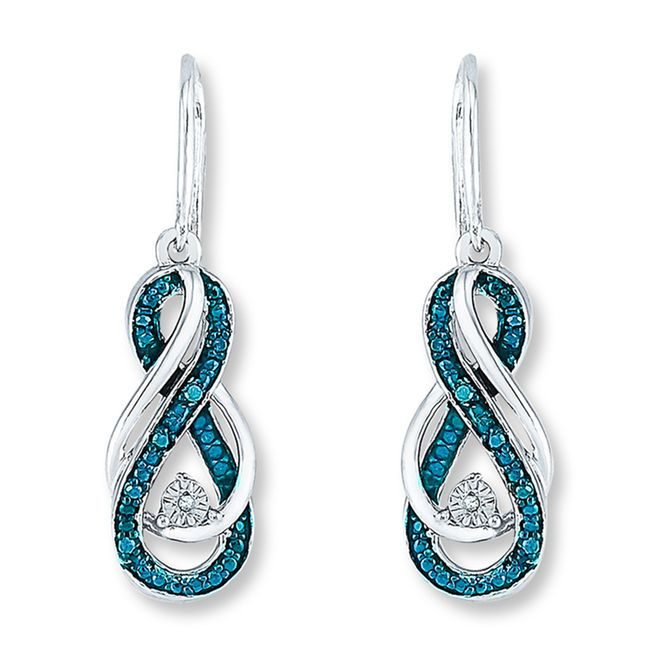 Two Infinity Symbols One Traced In Artistry Blue Diamonds Amp 174 The Other Of High Polish Sterli Infinity Earrings Blue Diamond Earrings Diamond Infinity