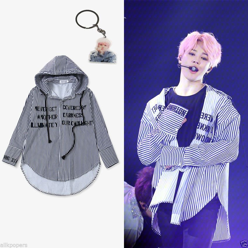 ba6bc5547d2 KPOP BTS JIMIN Striped Shirt Bangtan Boys Wings Fansigning Embroidery Blouse  New