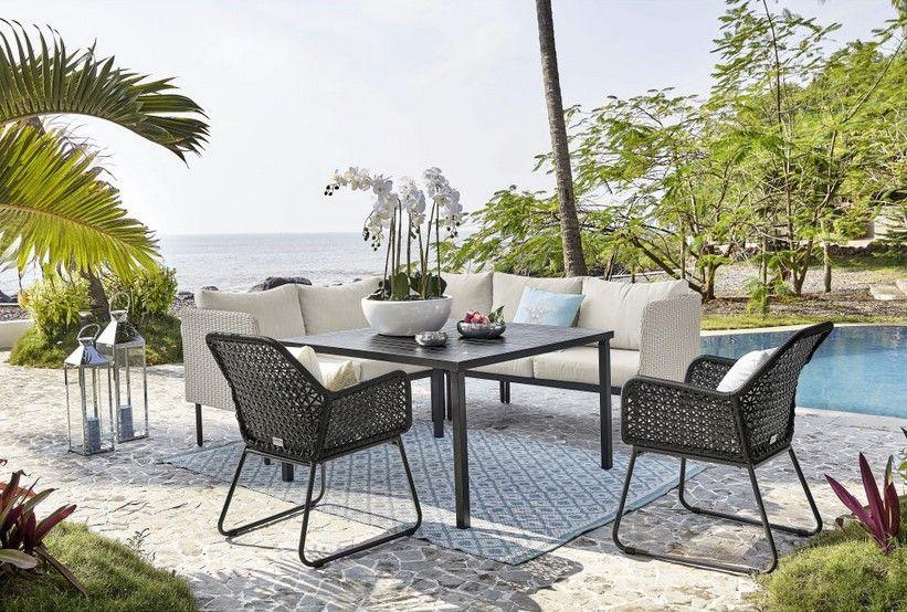 Table de jardin avec Canapé du0027angle Seoul en aluminium et résine - salon d angle de jardin