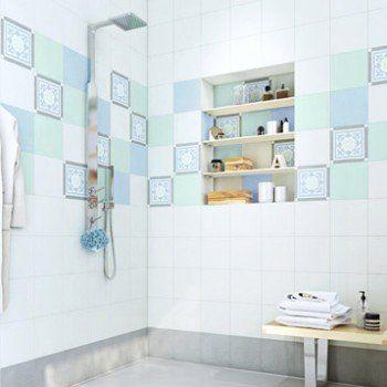 Carreau De Ciment Mur Gris Bleu Blanc Mat L 20 X L 20 Cm Belle Epoque Louise Vintage Banyo Banyo