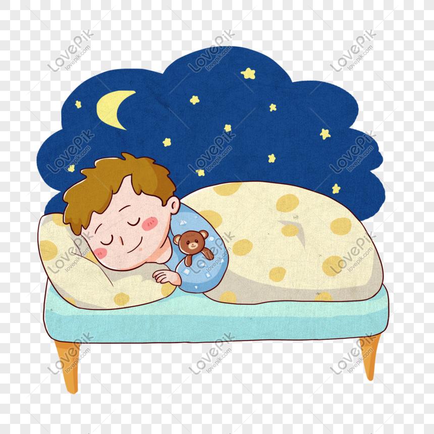 Nino Durmiendo Tranquilamente En La Cama Por La Noche Sin Cargo How To Draw Hands Sky Quilt Boy And Girl Cartoon