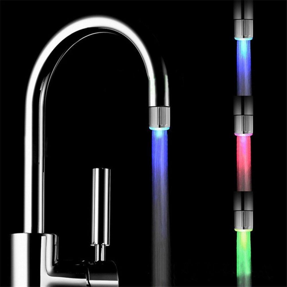 1 Pc Led Light Water Faucet Tap Heads Temperature Sensor 3 Color Changing Rgb Glow Bathroom Faucet Nozzle Aerators Water Faucet Kitchen Taps Faucet