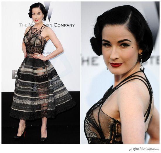 Dita von Teese in a gorgeous see-through dress