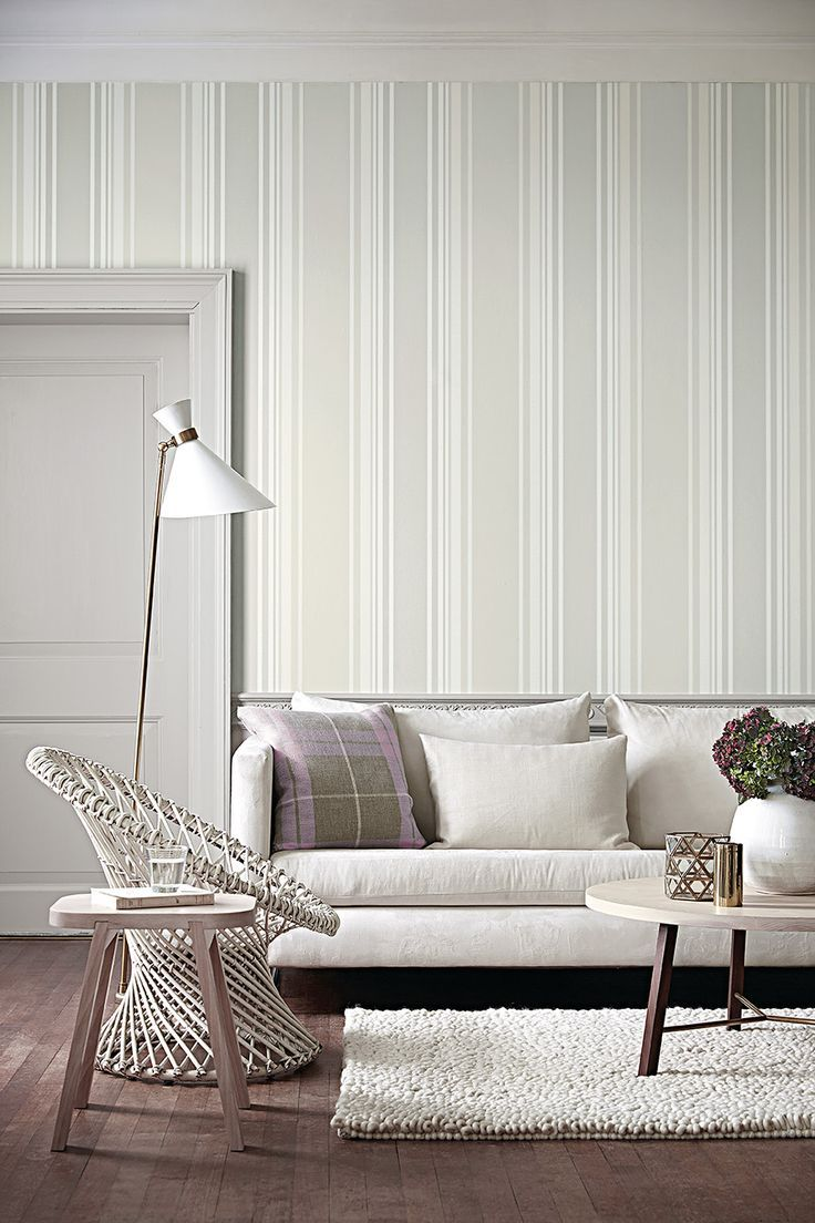 Calm off-white living room. Tented Stripe wallpaper - Rubine Ash. By ...