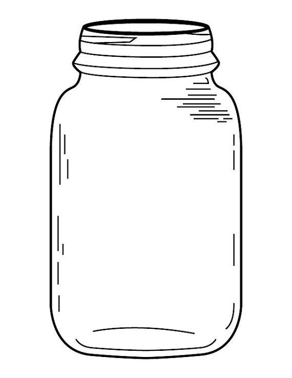 Mason Jar Coloring Page By Brittsdesignandbeads On Etsy Mason Jar Clip Art Colored Mason Jars Mason Jar Printables