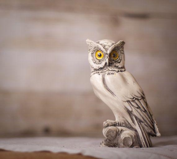 White Owl With Yellow Eyes Vintage Home Decor Yellow
