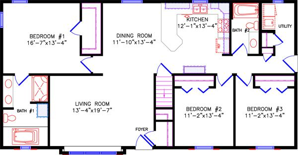 Alternate Floor Plan 1 5116 Limited Ii 28x56 Floor Plans Rectangle House Plans Floor Plans Ranch