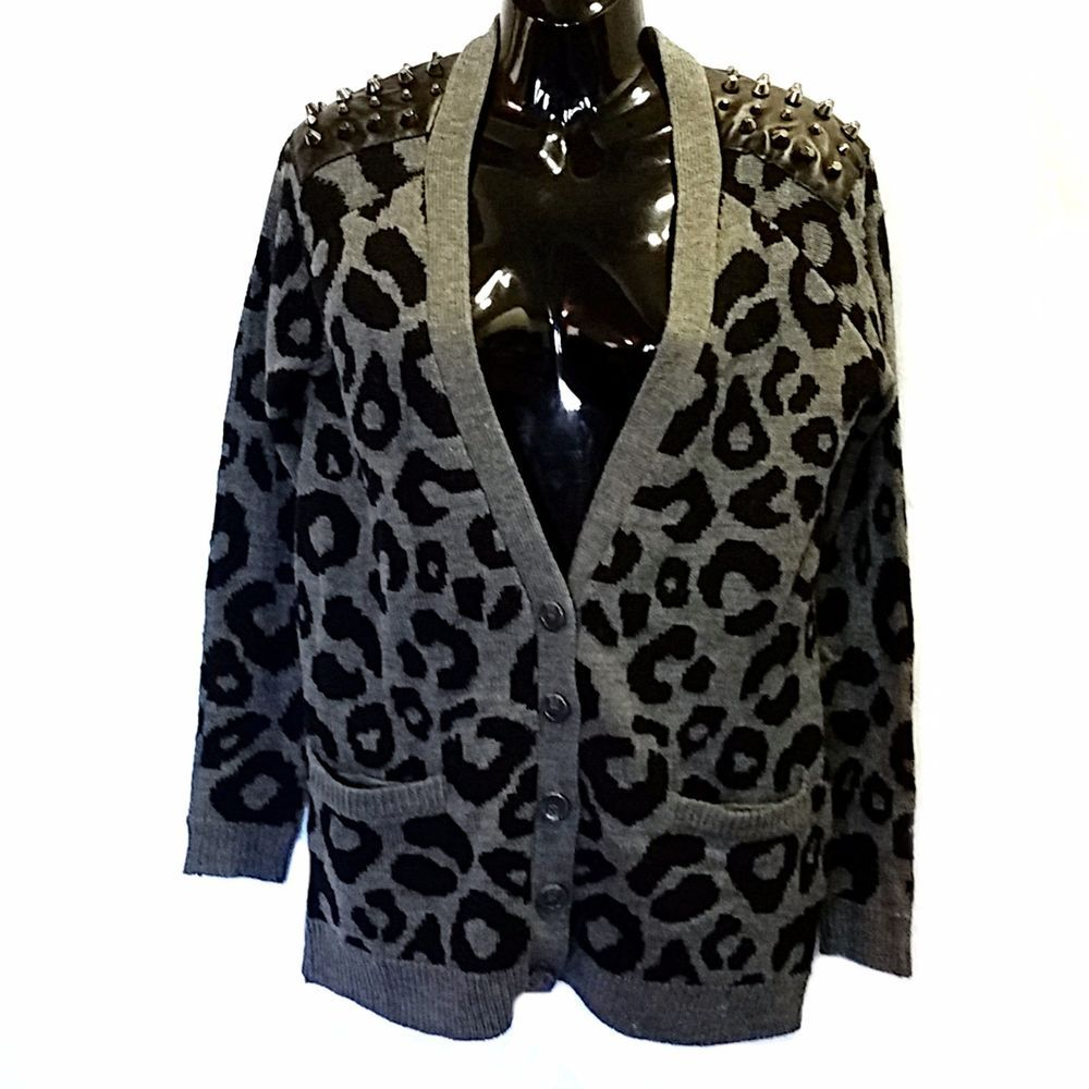 Details about Gray Leopard Print Studded Cardigan Sweater Love by ...
