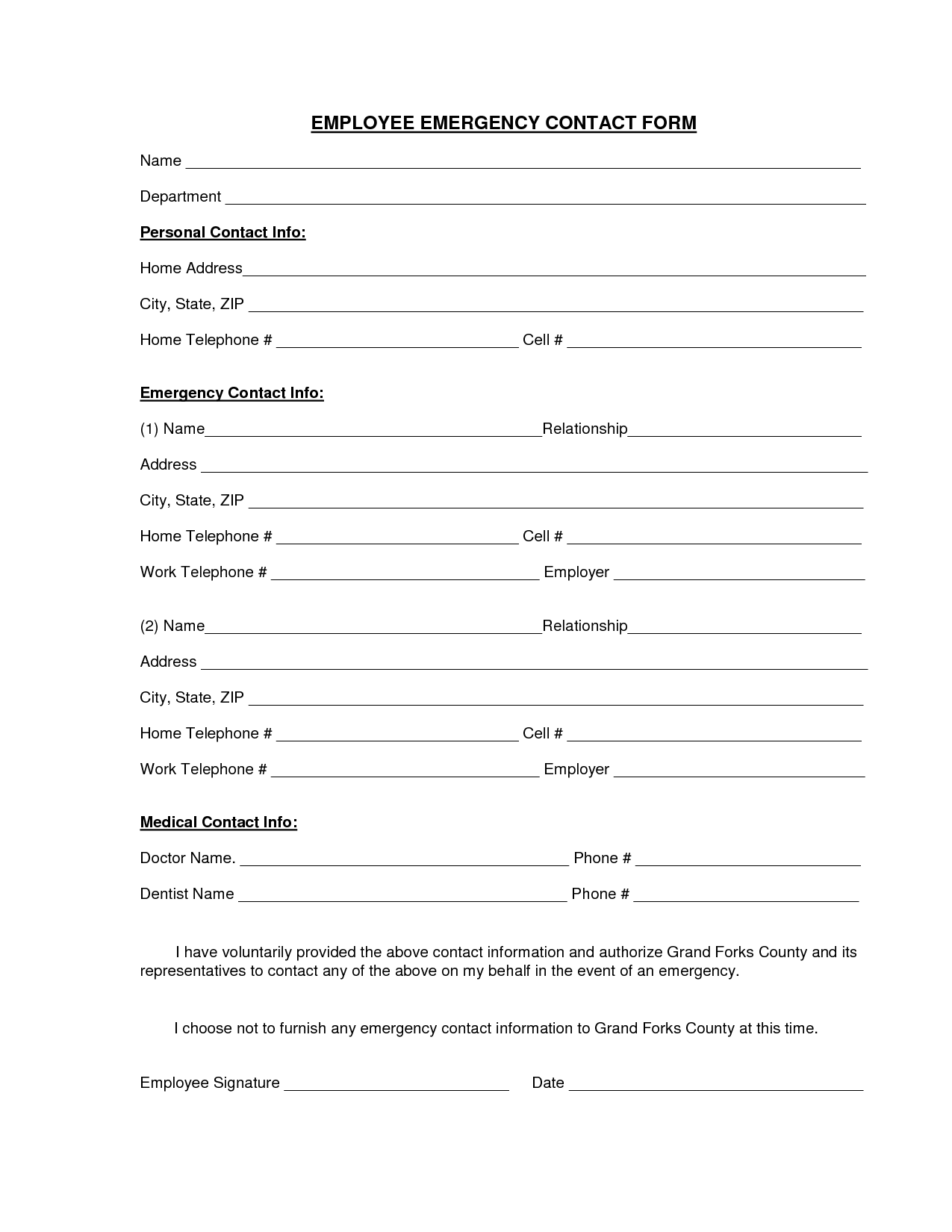 Download A Free Emergency Contact Form An D Emergency Card