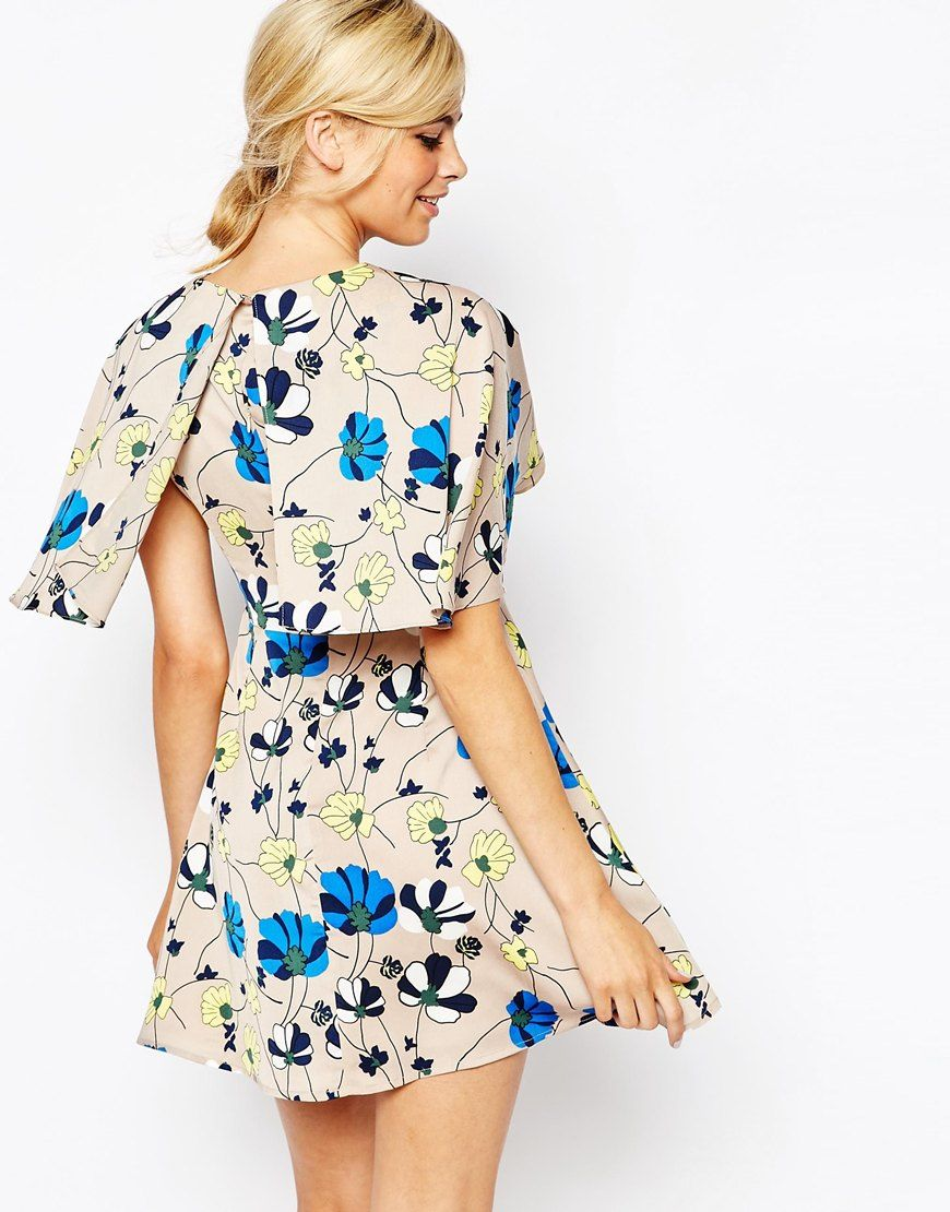Image 2 ofDahlia Floral Dress with Cape Detail