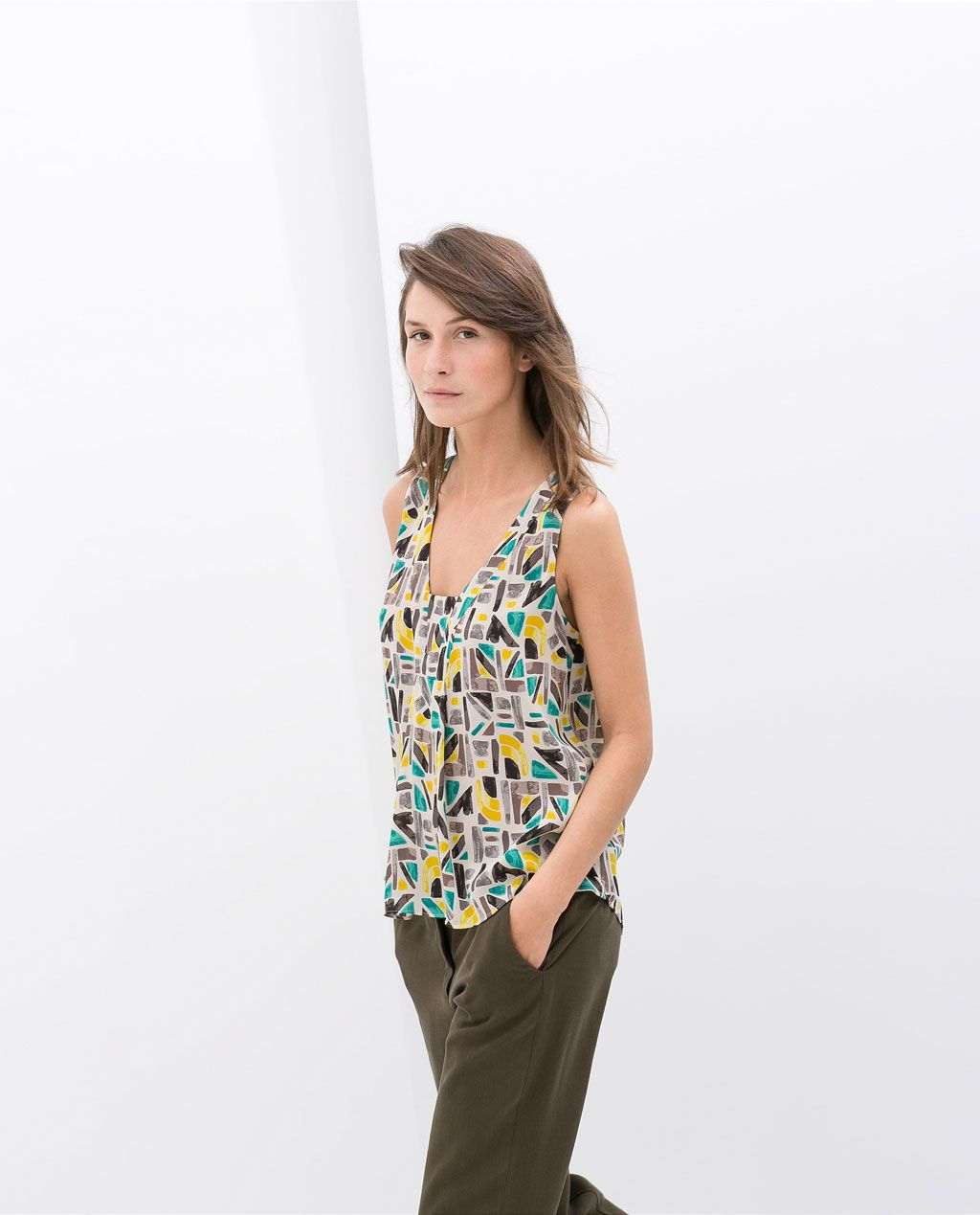 ZARA - NEW THIS WEEK - PRINTED SQUARE-NECKED TOP