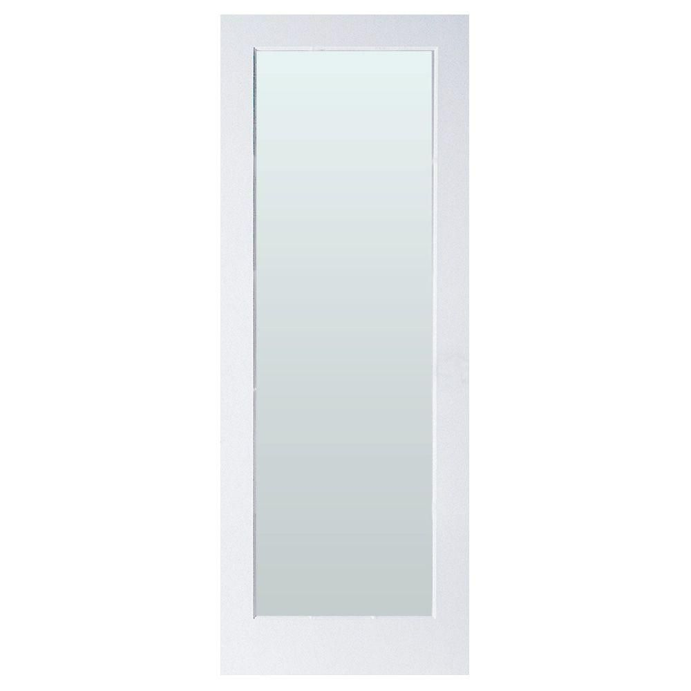 Masonite Full Lite Solid Core Primed Composite Interior Door Slab With Privacy Glass 38628 At