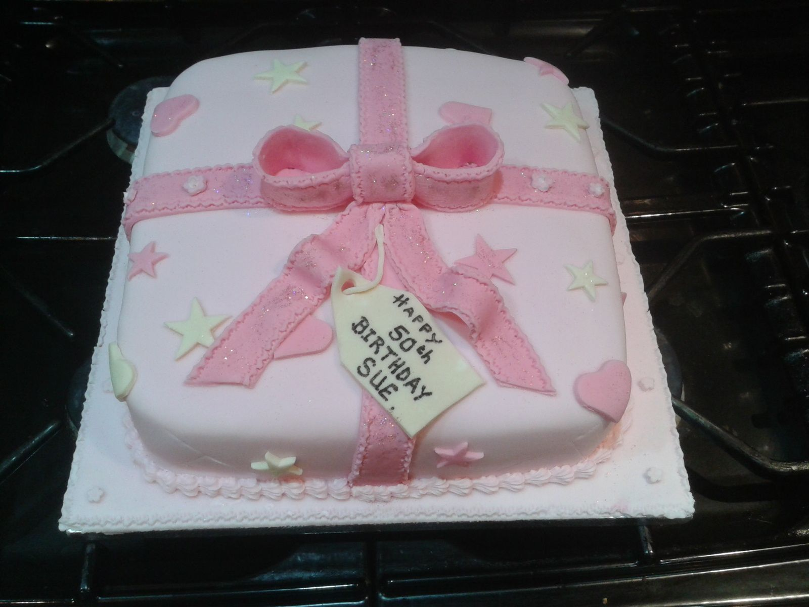 Pink parcel 50th Birthday Cake
