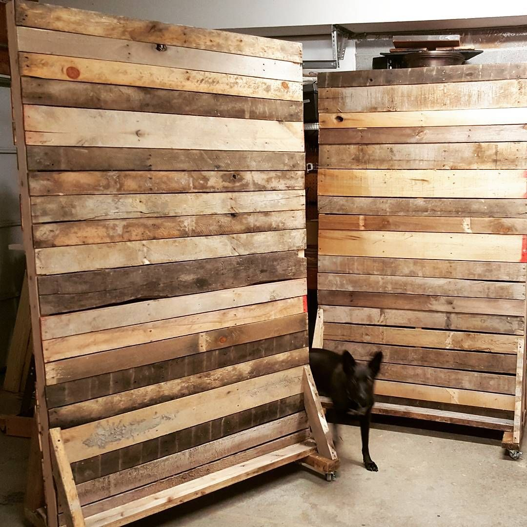 Two 7ft X 4ft Rolling Pallet Walls