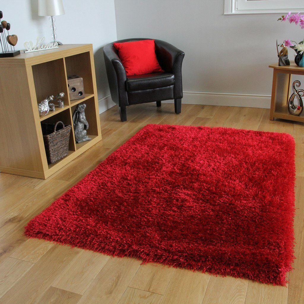 Modern Bright Red Ultra Soft Thin Strand Shaggy Rug 7