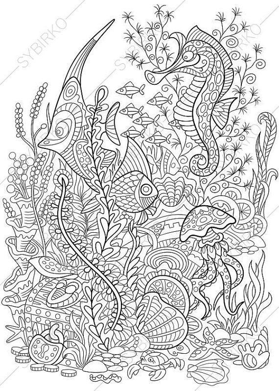 1 Coloring Page Of Underwater World From ColoringPageExpress Shop Hand Drawn Illustration Both For Adults SheetsAdult Pages Ocean