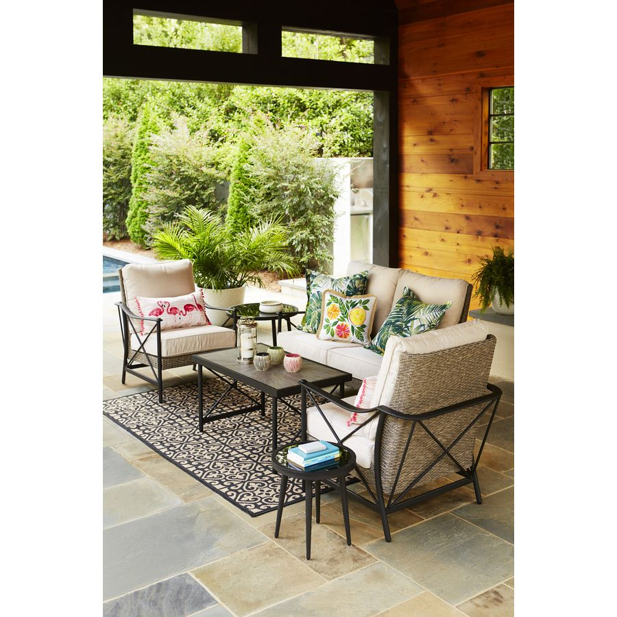 Allen Roth Rothenbee Wicker Outdoor Loveseat With Cushion S And Canvas Flax Aluminum Frame Lowes Com Outdoor Loveseat Patio Patio Furniture