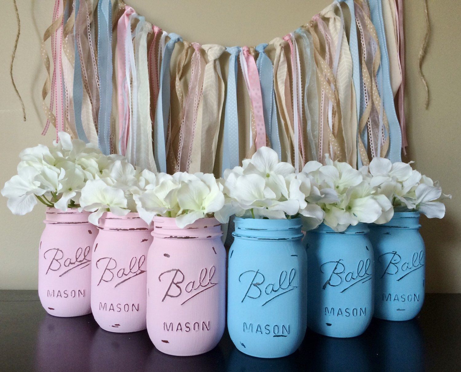 Painted mason jars baby shower decor gender reveal for Baby shower centerpiece decoration