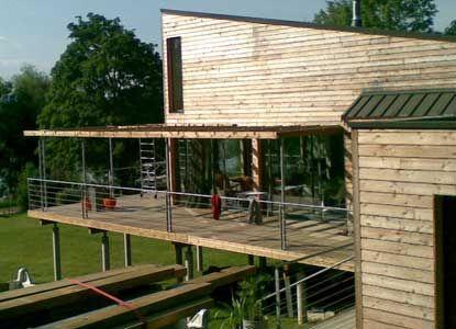 terrasse sur poteaux b ton platelage en pin trait par. Black Bedroom Furniture Sets. Home Design Ideas