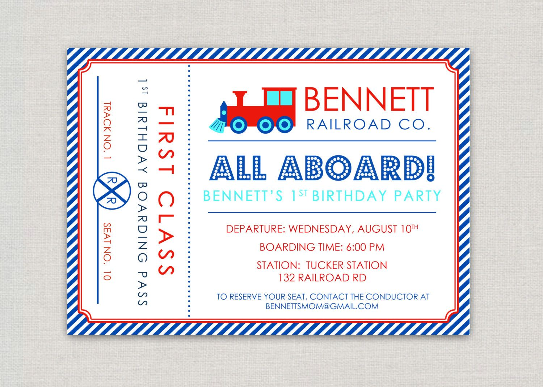 Modern Train Ticket Birthday Party Invitation. $15.00, via Etsy ...