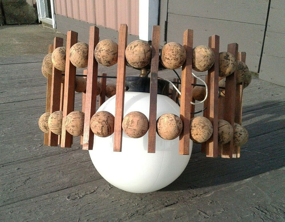 Danish modern midcentury teak and cork ball and slat