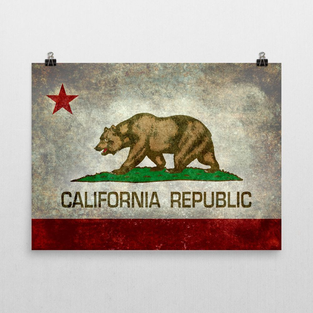 Wall Art California State Flag Rustic Grunge