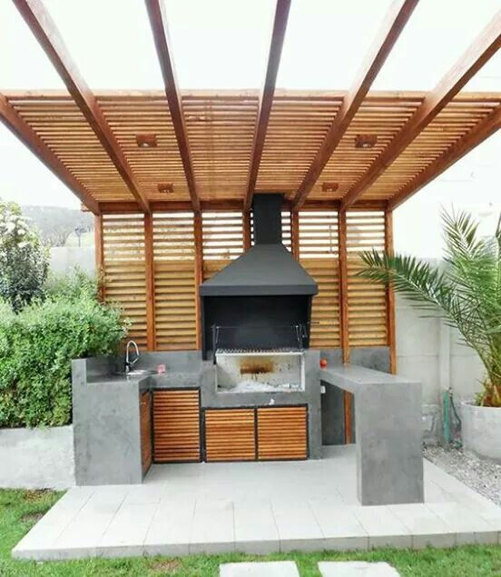 Ideas patio pergola terrazas concreto blanco hierro for Techos de madera para jardin