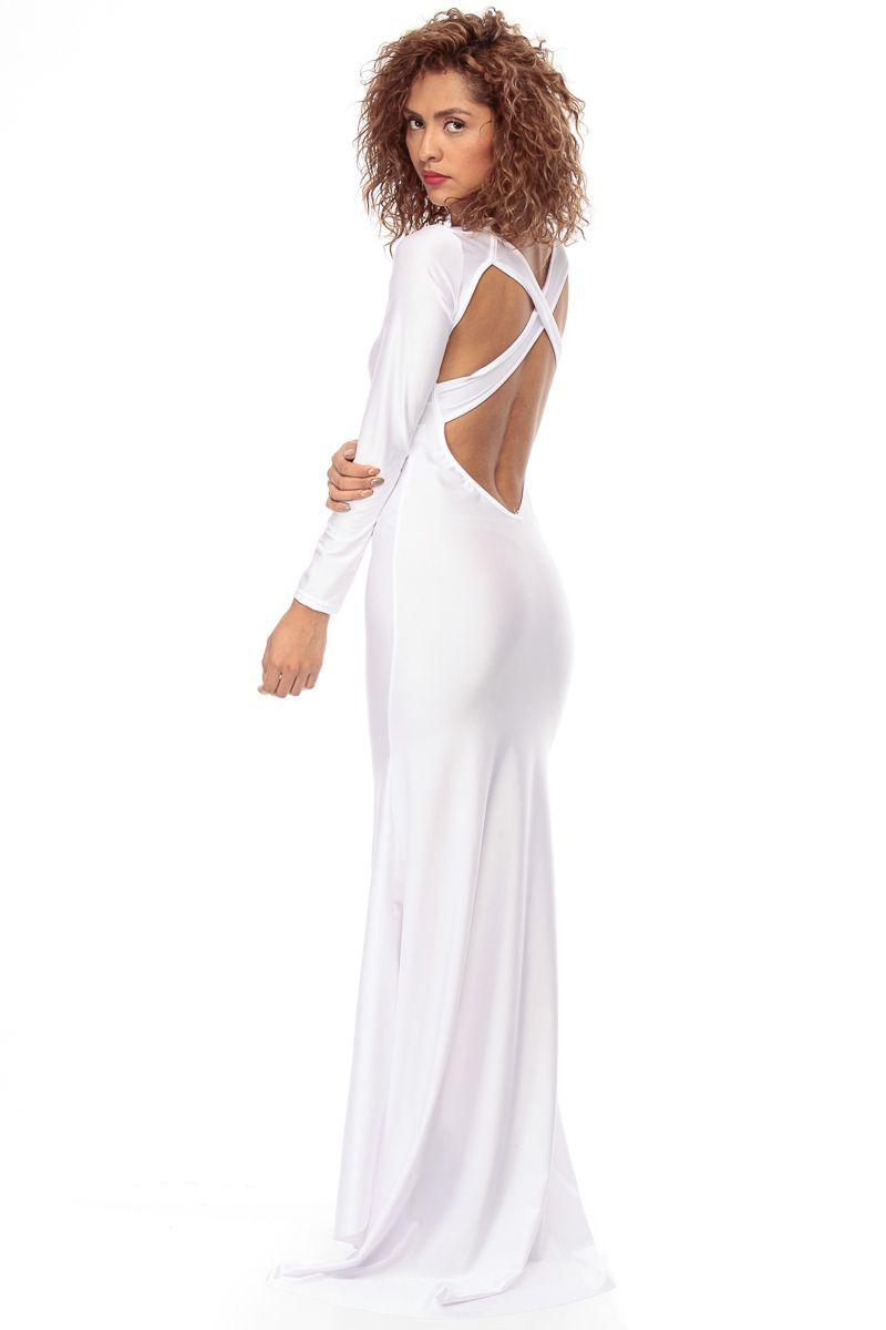 White Luxe Tail Mermaid Maxi Dress