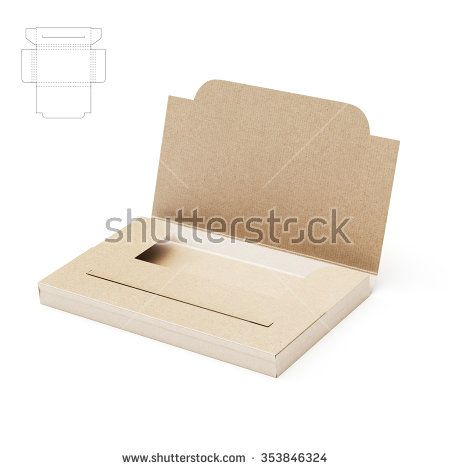 Slim Business Card Folder Box With Die Cut Template  Stock Photo