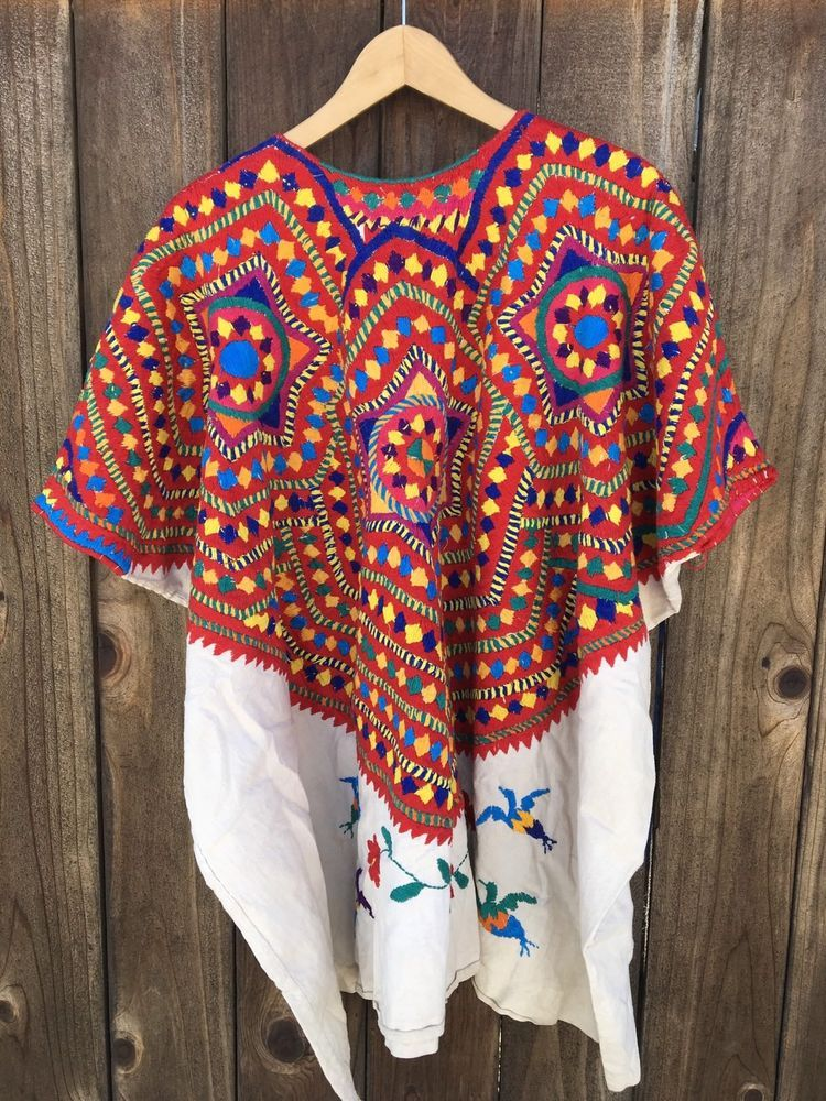 872421941 Guatemalan Huipil Vintage Hand Embroidery Mayan Top Poncho Boho ...