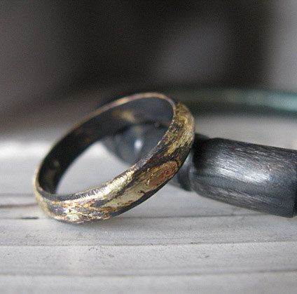 Beautiful Rustic Gold and Oxidized Silver Mens Wedding Band by RusticFORMen