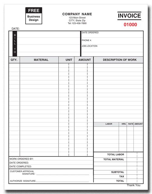 Invoice Form Part Or Part Products By Industry Custom - Work order invoice template