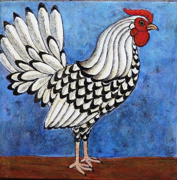 Pair of Original Rooster Portraits Two 10x10 by AndeHallFineArt