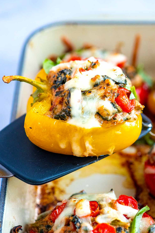 Easy Sausage Stuffed Peppers With Spinach Recipe Stuffed Peppers Sausage And Peppers Baked Ribs Recipe