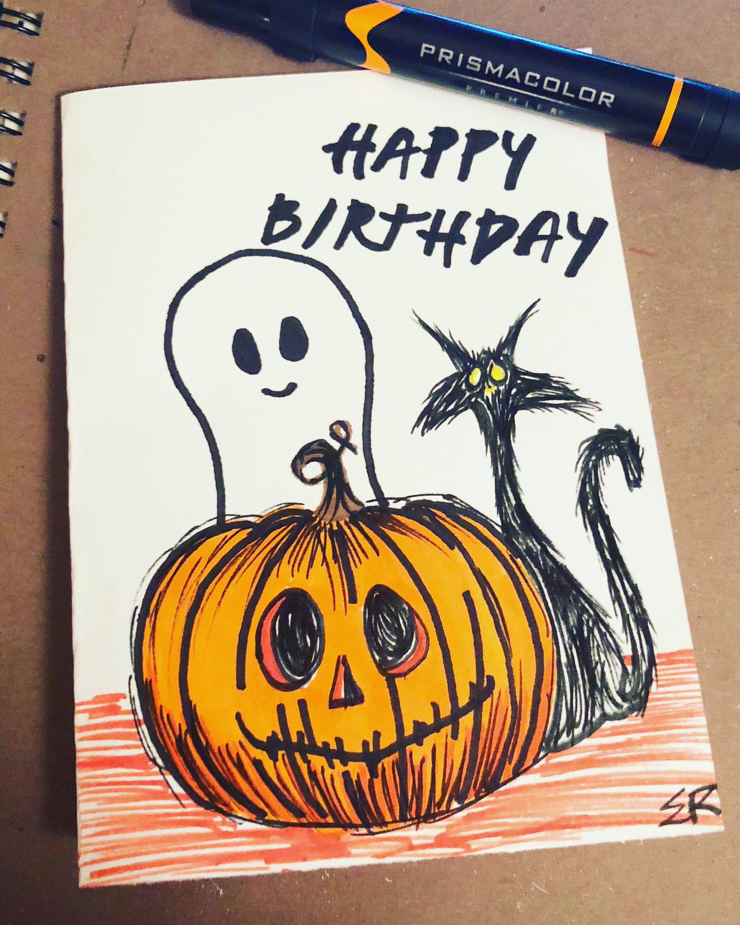 Halloween, Birthday, Art, Card, Artwork, Pumpkins, Marker