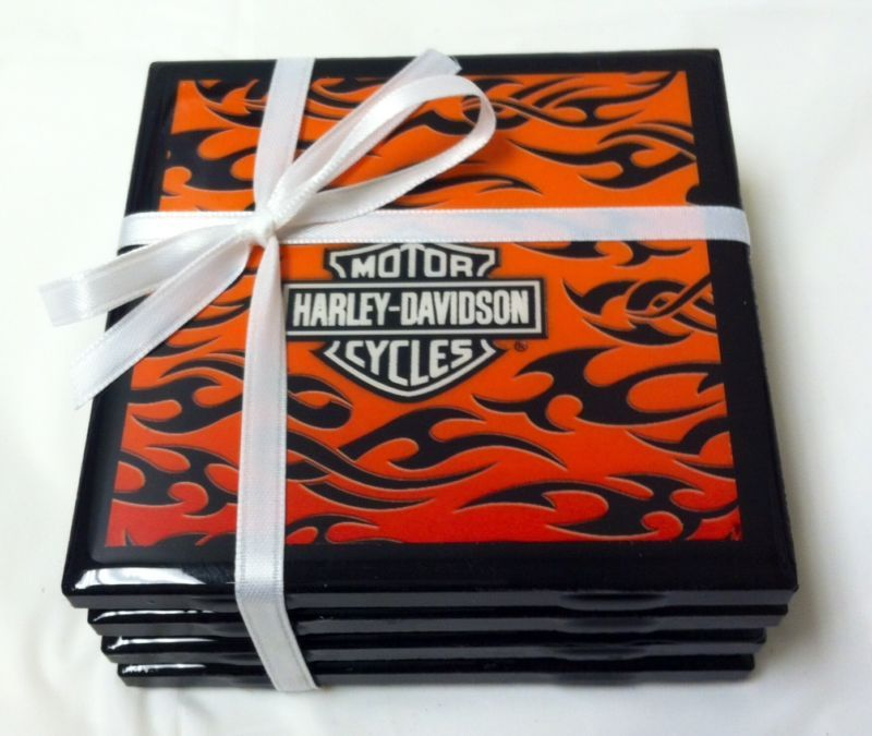 Handmade Harley Davidson Tiles Coaster Set